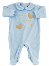 Baby footie baby chenille. Baby footie love mommy and daddy. Colour light blue, size 3-6 months