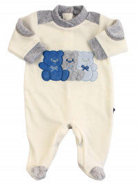 Baby footie Chenille baby Three little bears. Colour grey, size 3-6 months