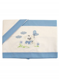 coordinated baby bear cradle on the lawn and balloon. Colour light blue, one size
