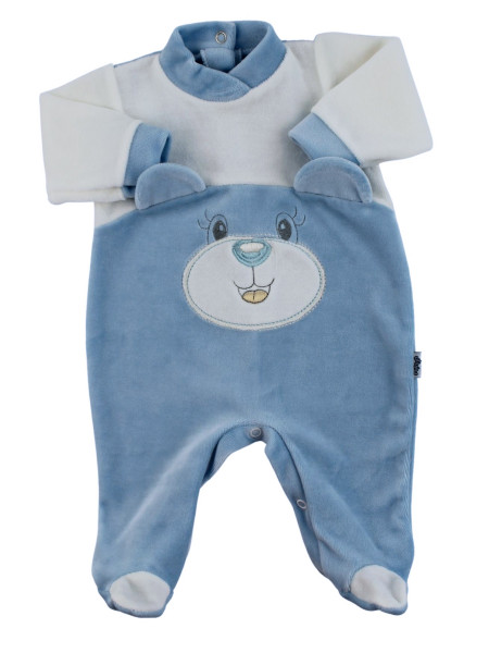 baby footie in chenille face with ears. Colour light blue, size 0-3 months Light blue Size 0-3 months