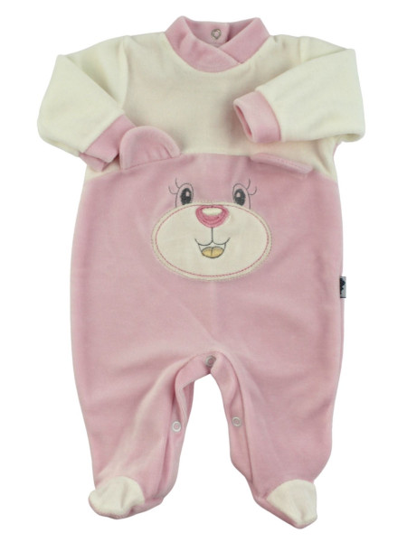baby footie in chenille face with ears. Colour pink, size 3-6 months Pink Size 3-6 months