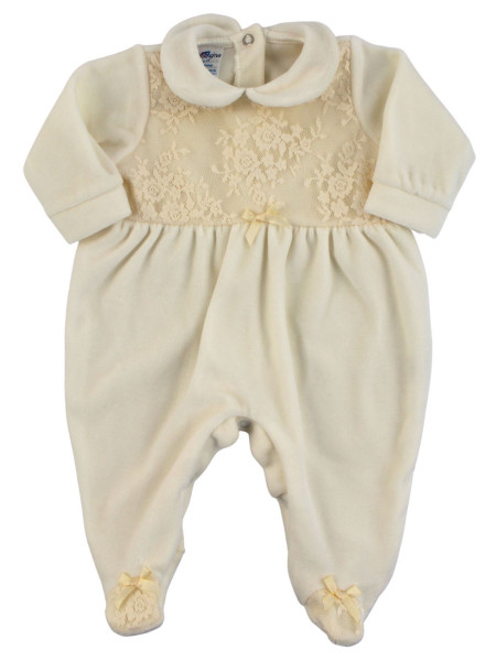 Baby footie chenille baby. Baby footie Elegant Baby Girl. Colour creamy white, size 0-3 months Creamy white Size 0-3 months
