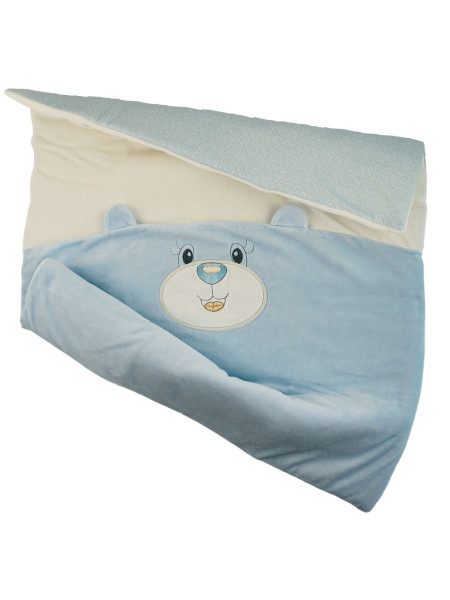 Newborn Baby Cradle Cover Chenille, Bear Muzzle and Ears. Colour light blue, one size Light blue One size