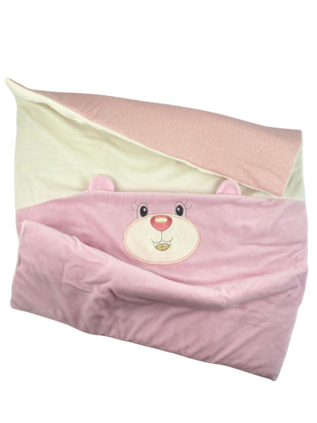 Newborn Baby Cradle Cover Chenille, Bear Muzzle and Ears. Colour pink, one size Pink One size