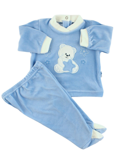 Baby outfit Baby in chenille. Baby outfit Bear with stars. Colour light blue, size 6-9 months Light blue Size 6-9 months