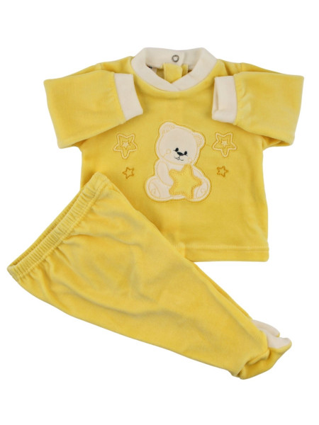 Baby outfit Baby in chenille. Baby outfit Bear with stars. Colour yellow, size 6-9 months Yellow Size 6-9 months