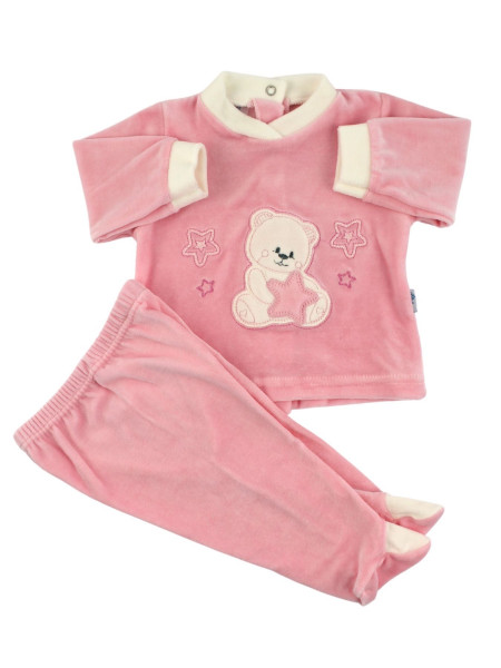 Baby outfit Baby in chenille. Baby outfit Bear with stars. Colour pink, size 1-3 months Pink Size 1-3 months