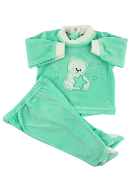 Baby outfit Baby in chenille. Baby outfit Bear with stars. Colour green, size 3-6 months