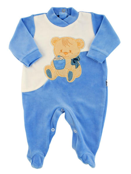 Baby footie baby chenille. Baby footie Cookie Bear. Colour light blue, size 6-9 months Light blue Size 6-9 months