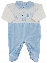 Baby footie baby chenille baby footie bear ball and rattles. Colour light blue, size 6-9 months