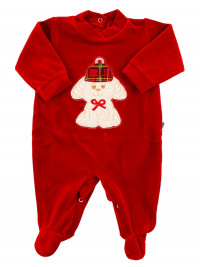 Baby footie baby chenille. Baby footie Red Winter. Colour red, size 1-3 months