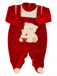 Baby footie baby in red chenille. Baby footie Mama Bear. Colour red, size 0-1 month