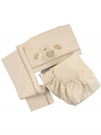 coordinated newborn baby cot 3pcs big heart. Colour creamy white, one size