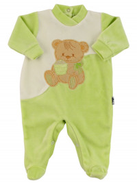 Baby footie baby chenille. Baby footie Cookie Bear. Colour pistacchio green, size 0-3 months