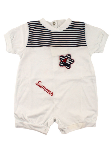Romper newborn baby boat in a flower with stripes. Colour white, size 3-6 months White Size 3-6 months