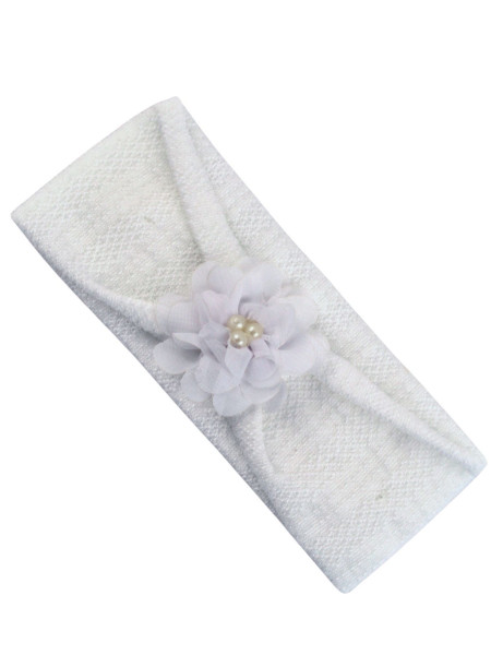 white cotton newborn baby band. flower band with pearls. Colour white, one size White One size