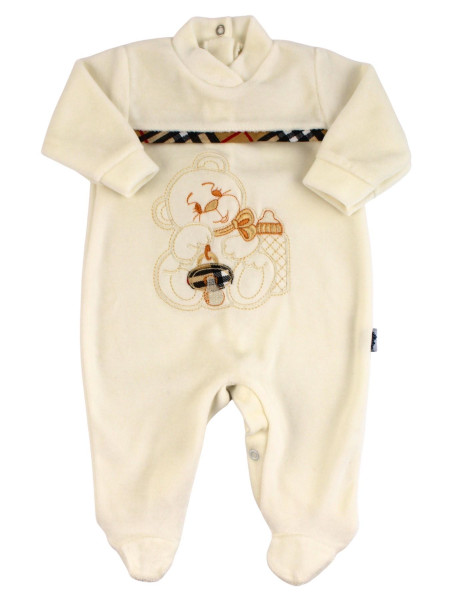 unisex baby footie in chenille bear dummy bear. Colour creamy white, size 3-6 months