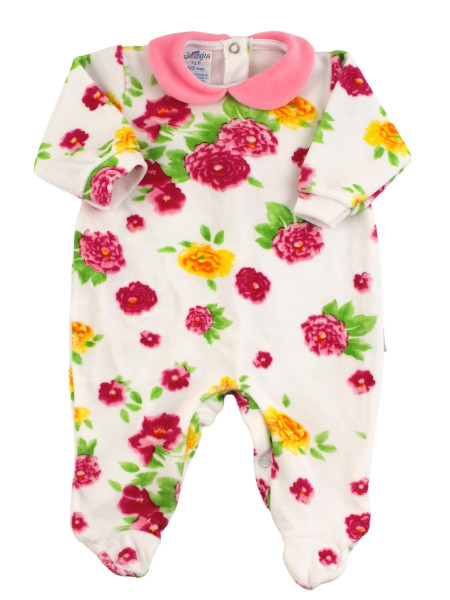 Baby footie chenille baby. Baby footie with floral prints. Colour pink, size 0-3 months Pink Size 0-3 months
