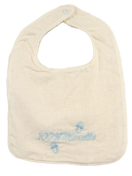 newborn cotton bib. 100% bratty bib. Colour creamy white, one size Creamy white One size