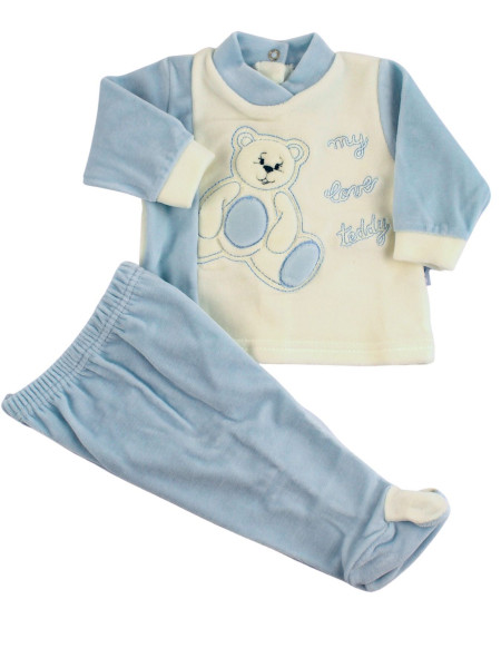 baby outfit in chenille my love teddy. Colour light blue, size 0-1 month Light blue Size 0-1 month