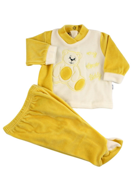 baby outfit in chenille my love teddy. Colour yellow, size 1-3 months Yellow Size 1-3 months