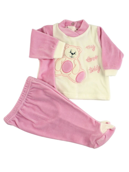 baby outfit in chenille my love teddy. Colour pink, size 0-1 month Pink Size 0-1 month