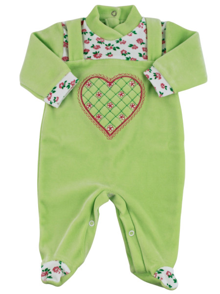 baby footie in chenille dungarees. baby footie mama's heart. Colour pistacchio green, size 3-6 months Pistacchio green Size 3-6 months