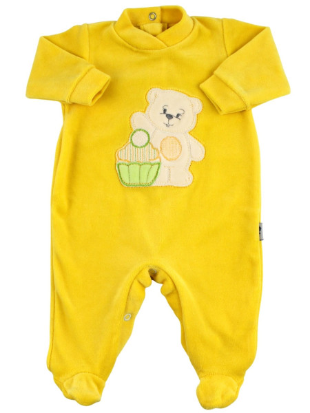 Baby footie baby chenille monochrome. Baby footie A sweet greeting. Colour yellow, size 0-3 months Yellow Size 0-3 months