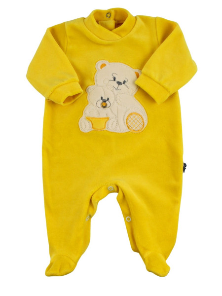 Baby footie in chenille, Baby footie bear family. Colour yellow, size 0-3 months Yellow Size 0-3 months