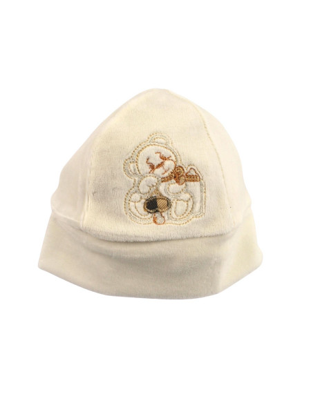 unisex newborn baby chenille hat. bear hair with pacifier. Colour creamy white, one size Creamy white One size