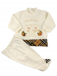 baby outfit interlock, little bears of mine. Colour creamy white, size 3-6 months