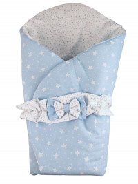 double face cotton padded sleeping bag Petali di Stelle. Colour light blue, one size