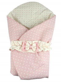 double face polka dot cotton padded sleeping bag. Colour pink, one size