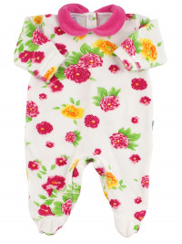 Baby footie chenille baby. Baby footie with floral prints. Colour fuchsia, size 3-6 months