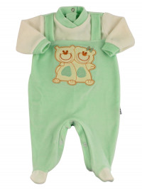 Baby footie baby chenille. Baby footie Best Friends. Colour green, size 3-6 months