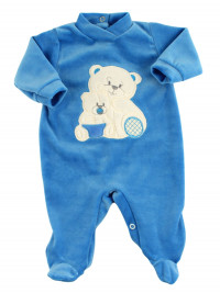 Baby footie in chenille, Baby footie bear family. Colour light blue, size 0-3 months