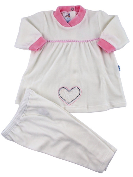 Chenille baby outfit. Big heart dress. Colour creamy white, size 0-3 months Creamy white Size 0-3 months