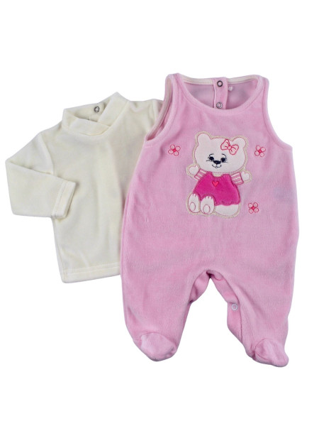 Baby footie chenille two pieces with overalls. Baby footie Sweet Cat. Colour pink, size 6-9 months Pink Size 6-9 months