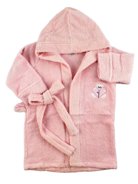Newborn baby terry cotton bathrobe, Zip bathrobe, Made in Italy. Colour pink, size 12 18 months Pink Size 12 18 months