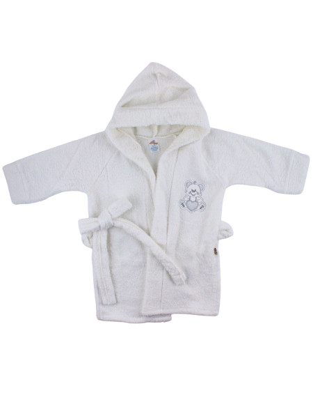 Newborn baby cotton terry bathrobe. Little heart bathrobe. Colour white, size 6-9 months White Size 6-9 months