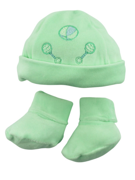 Hat and baby shoes, in chenille. Ball and rattles. Colour green, one size Green One size