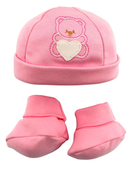 newborn baby hat and shoes, warm cotton. bear's heart. Colour pink, one size Pink One size