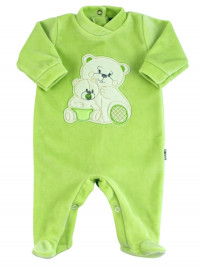 Baby footie in chenille, Baby footie bear family. Colour pistacchio green, size 0-3 months