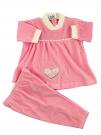 Chenille baby outfit. Big heart dress. Colour pink, size 0-3 months