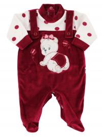 Baby footie baby chenille overalls. Baby footie teddy bear. Colour black cherry, size 0-1 month