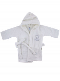 Newborn baby cotton terry bathrobe. Little heart bathrobe. Colour white, size 9-12 months