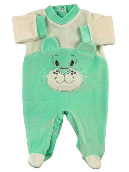 chenille baby footie with ears. Colour green, size 6-9 months Green Size 6-9 months