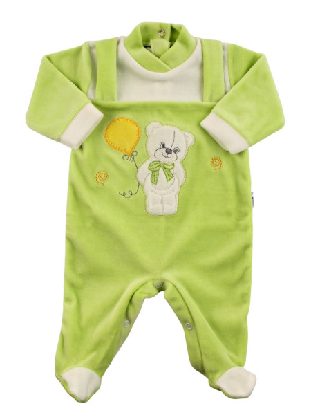 baby footie bear bow and balloon in chenille. Colour pistacchio green, size 9-12 months Pistacchio green Size 9-12 months