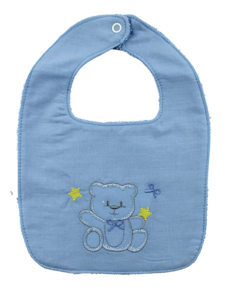 cotton baby bib. Bear and Stars. Colour light blue, one size Light blue One size