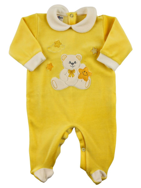 unisex chenille baby footie, baby star. Colour yellow, size 0-3 months Yellow Size 0-3 months